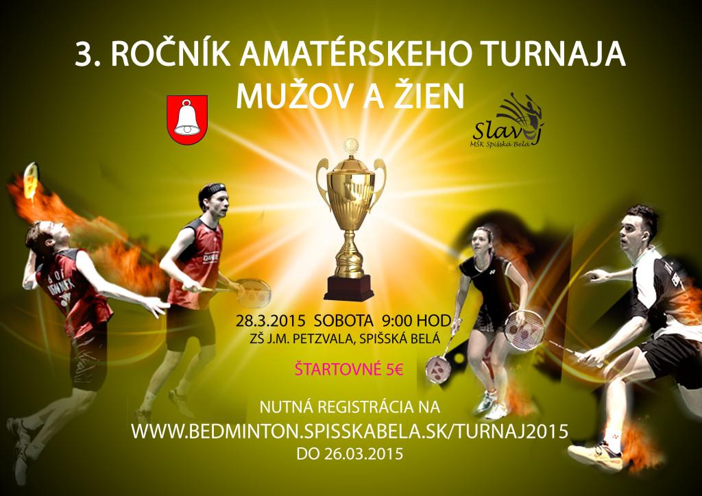 Plagát 3 ročník bedmintonového turnaja mužov a žien